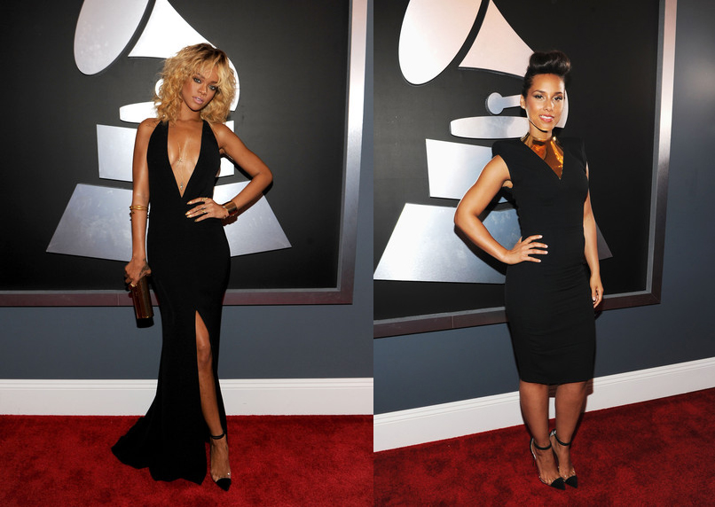 Alicia Keys & Rihanna Grammys Red carpet Same Shoes 2012